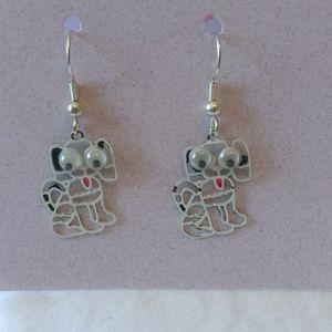 Googly Eyes White and Black Dalmatian Dog Earrings